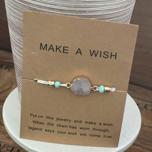 Boho make a wish string/stone bracelet